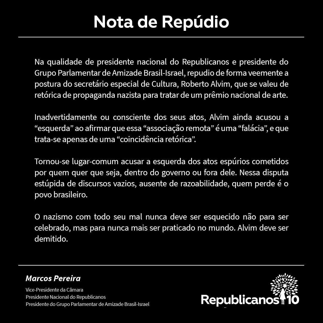 Republicanos pede demissão de secretário Roberto Alvim