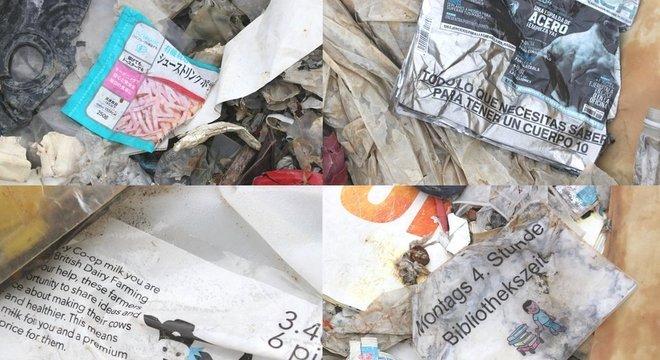 A maior parte dos plásticos encontrados no aterro são provenientes de grandes nações desenvolvidas