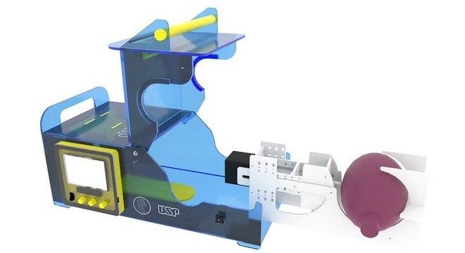O protótipo do respirador, desenvolvido pela USP em parceria com o IFSP e a Marinha