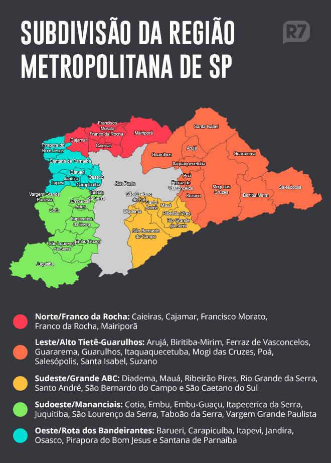 Mapa da Grande SP no Plano SP