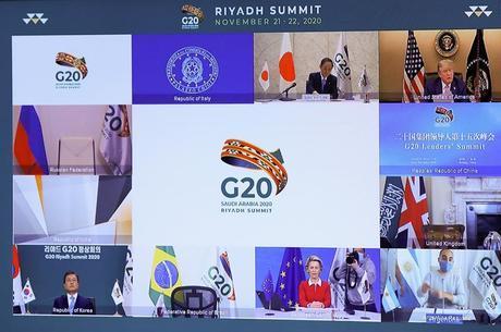 O presidente dos EUA, Donald Trump, em reunião virtual do G20