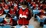 Students attend a Tibetan composition class at Duilongdeqing District high school in Lhasa, during a government-organised tour of the Tibet Autonomous Region, China, October 16, 2020. Picture taken October 16, 2020. REUTERS/Thomas Peter TPX IMAGES OF THE DAY