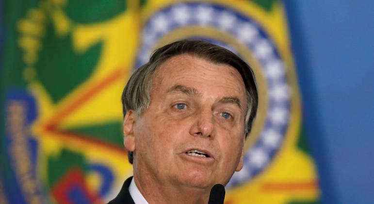 Bolsonaro durante evento no Palácio do Planalto, em Brasília