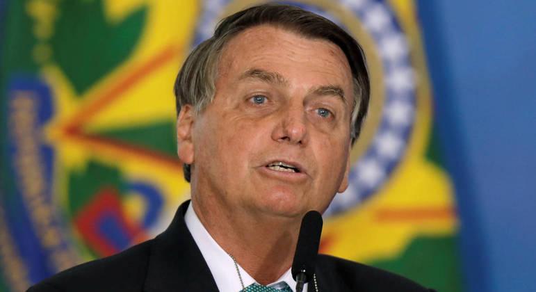 Bolsonaro discursa em evento no Palácio do Planalto, em Brasília