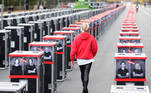 Stage cases are placed during a protest in support of the event sector affected by the coronavirus disease (COVID-19), in Berlin, Germany, October 28, 2020. REUTERS/Hannibal Hanschke