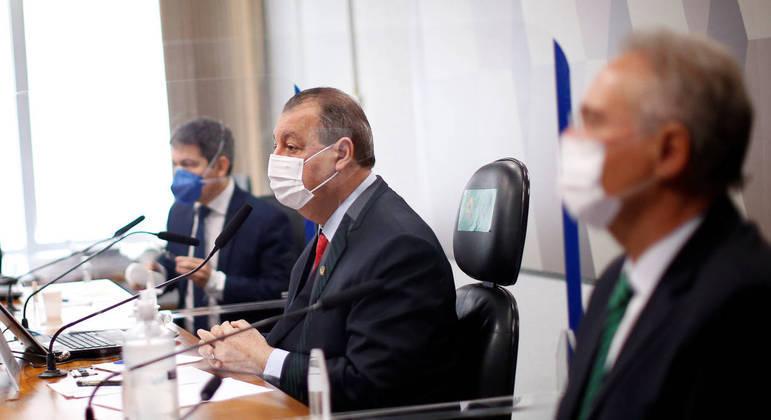 Cúpula da CPI da Covid-19: Randolfe Rodrigues (Rede-AP), Omar Aziz (PSD-AM) e Renan Calheiros (MDB-AL)