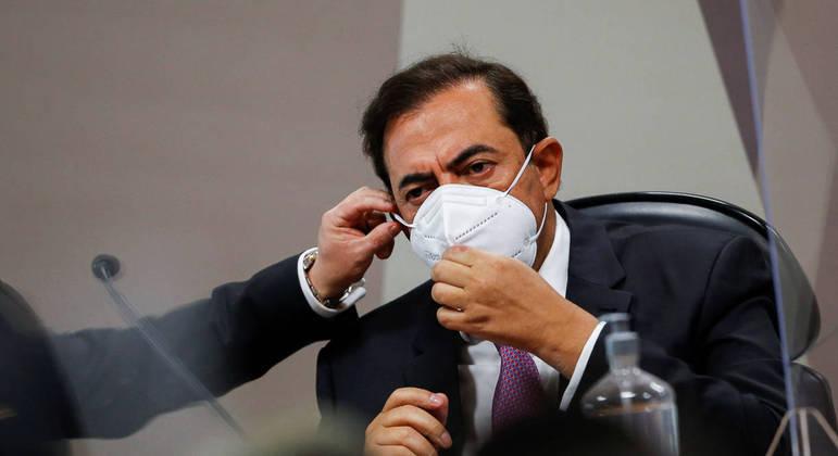O advogado Marcos Tolentino, que tem um habeas corpus concedido pelo STF, durante depoimento à CPI