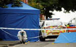 A forensic worker investigates at the scene of reported stabbings in Birmingham, Britain, September 6, 2020. REUTERS/Phil Noble