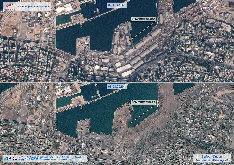 Imagens de satélite mostram efeitos da explosão no porto de ...