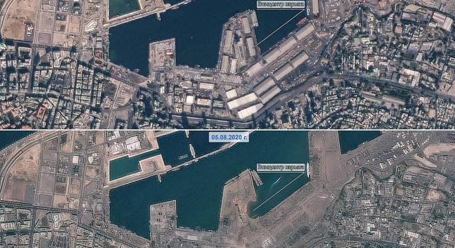 Imagens de satélite mostram o porto de Beirute antes e depois da explosão