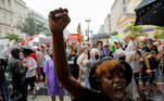 A demonstrator raises her fist as she takes part in a protest against the death in Minneapolis police custody of George Floyd, in Washington, U.S., June 5, 2020. REUTERS/Lucas Jackson TPX IMAGES OF THE DAY