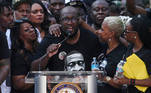 Philonise Floyd, brother of George Floyd, who died in Minneapolis police custody, is surrounded by family members as he speaks at a protest rally against his brother's death, in Houston, Texas, U.S., June 2, 2020. REUTERS/Adrees Latif TPX IMAGES OF THE DAY