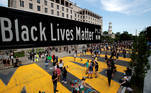 A street sign of Black Lives Matter Plaza is seen near St. John's Episcopal Church, as the protests against the death in Minneapolis police custody of George Floyd continue, in Washington, U.S., June 5, 2020. REUTERS/Carlos Barria TPX IMAGES OF THE DAY