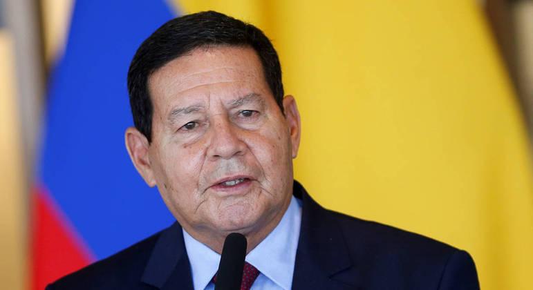 O vice-presidente, Hamilton Mourão, durante evento em Brasília
