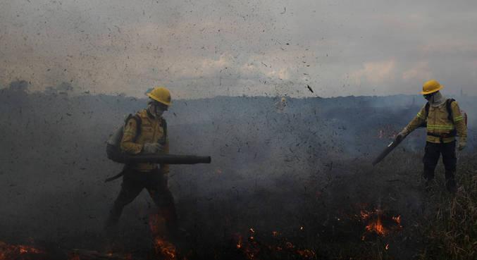 Brigada contra incêndio do Ibama trabalho em ação na Amazônia