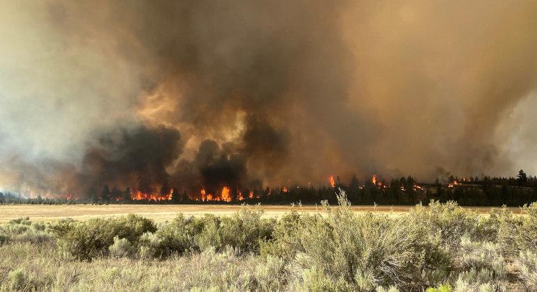 Clima seco e temperaturas elevadas complicam os incêndios nos Estados Unidos e Canadá