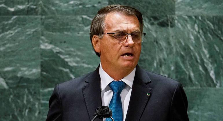 O presidente Jair Bolsonaro, durante discurso na abertura da Assembleia Geral da ONU