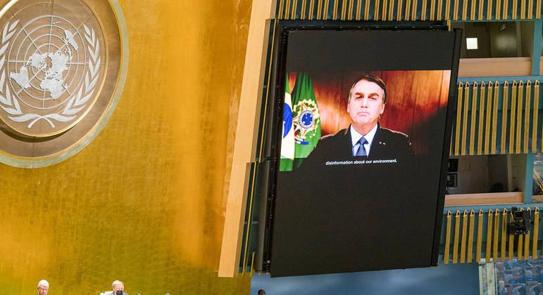 Bolsonaro discursou por vídeo na última Assembleia Geral da ONU por causa da pandemia da Covid-19