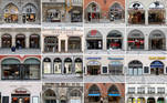 A combination picture of shops closed due to the coronavirus disease (COVID-19) pandemic in the city centre of Munich, Germany, February 5, 2021. Pictures taken February 5, 2021. REUTERS/Michaela Rehle TPX IMAGES OF THE DAY