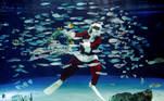 A diver wearing Santa Claus costume swims in a large fish tank during an underwater performance for the Christmas celebration, amid the coronavirus disease (COVID-19) outbreak, at Sunshine Aquarium in Tokyo, Japan, December 4, 2020. REUTERS/Kim Kyung-Hoon TPX IMAGES OF THE DAY