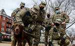 Members of the National Guard greet a dog while they spend time in Lincoln Park in Washington D.C., days ahead of U.S. President-elect Joe Biden's inauguration, U.S. January 18, 2021. REUTERS/Brendan McDermid TPX IMAGES OF THE DAY