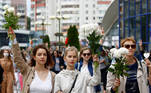 Women take part in a demonstration against police violence during the recent rallies of opposition supporters following the presidential election in Minsk, Belarus August 12, 2020. REUTERS/Vasily Fedosenko