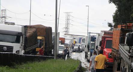 Manifestação de caminhoneiros em São Paulo