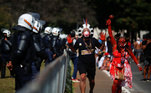 Em Brasília, representantes indígenas também se juntaram à manifestação