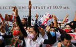 Myanmar citizens take part in a protest against the military coup in Myanmar, outside the Myanmar embassy in Bangkok, Thailand February 7, 2021. REUTERS/Chalinee Thirasupa