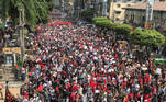 People rally in a protest against the military coup and to demand the release of elected leader Aung San Suu Kyi, in Yangon, Myanmar, February 7, 2021. REUTERS/Stringer