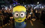 A protester dressed as a Minion performs while taking part in a protest against the government and to reform monarchy in Bangkok, Thailand, October 29, 2020. REUTERS/Athit Perawongmetha