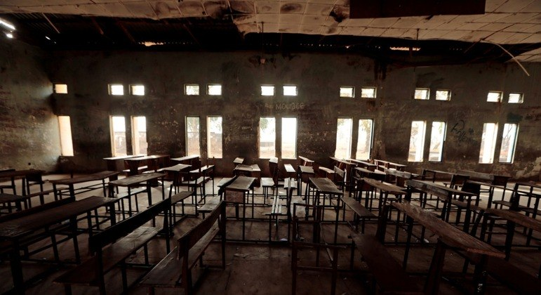 Sala de aula da escola estadual de ciências em Kagara, na Nigéria