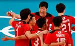 Tokyo 2020 Olympics -Volleyball - Men's Pool A - Japan v Venezuela - Ariake Arena, Tokyo, Japan – July 24, 2021. Team members of Japan celebrate. REUTERS/Carlos Garcia Rawlins