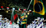 Tokyo 2020 Paralympic Games - The Tokyo 2020 Paralympic Games Closing Ceremony - Olympic Stadium, Tokyo, Japan - September 5, 2021. Daniel Dias of Brazil carries the flag of Brazil during the closing ceremony REUTERS/Issei Kato