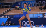 Tokyo 2020 Olympics - Gymnastics - Artistic - Women's Individual All-Around - Final - Ariake Gymnastics Centre, Tokyo, Japan - July 29, 2021. Rebeca Andrade of Brazil in action during the floor exercise REUTERS/Dylan Martinez