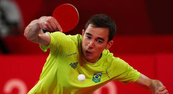 Calderano caiu diante do alemão Dimitrij Ovtcharov nos Jogos de Tóquio 2020