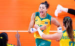 Tokyo 2020 Olympics - Volleyball - Women's Semifinal - Brazil v South Korea - Ariake Arena, Tokyo, Japan – August 6, 2021. Carol of Brazil celebrates with teammates during the match. REUTERS/Carlos Garcia Rawlins
