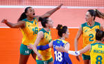 Tokyo 2020 Olympics - Volleyball - Women's Semifinal - Brazil v South Korea - Ariake Arena, Tokyo, Japan – August 6, 2021. Fe Garay of Brazil celebrates with teammates during the match. REUTERS/Carlos Garcia Rawlins