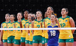Tokyo 2020 Olympics - Volleyball - Women's Semifinal - Brazil v South Korea - Ariake Arena, Tokyo, Japan – August 6, 2021. Players of Brazil line up before the match. REUTERS/Valentyn Ogirenko