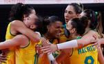 Tokyo 2020 Olympics - Volleyball - Women's Quarterfinal - Brazil v The Russian Olympic Committee - Ariake Arena, Tokyo, Japan – August 4, 2021. Team members of Brazil celebrate REUTERS/Valentyn Ogirenko