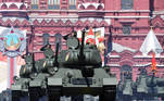 T-34 Soviet-era tanks drive during the Victory Day Parade in Red Square in Moscow, Russia, June 24, 2020. The military parade, marking the 75th anniversary of the victory over Nazi Germany in World War Two, was scheduled for May 9 but postponed due to the outbreak of the coronavirus disease (COVID-19). Host photo agency/Iliya Pitalev via REUTERS