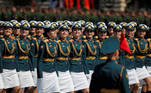 Russian servicewomen march during the Victory Day Parade in Red Square in Moscow, Russia June 24, 2020. The military parade, marking the 75th anniversary of the victory over Nazi Germany in World War Two, was scheduled for May 9 but postponed due to the outbreak of the coronavirus disease (COVID-19). REUTERS/Maxim Shemetov