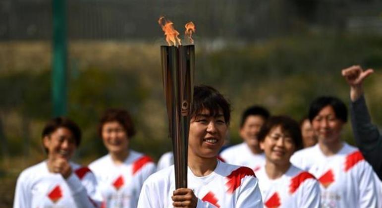 Revezamento da tocha olímpica para os Jogos de Tóquio