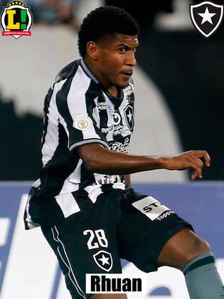 Rhuan - 4,5: Principal saída em velocidade do Botafogo, Rhuan teve uma atuação apagada e foi pouco agudo nas jogadas ofensivas. Sem arriscar jogadas no fundo, pouco apareceu e foi substituído por Kalou no segundo tempo.