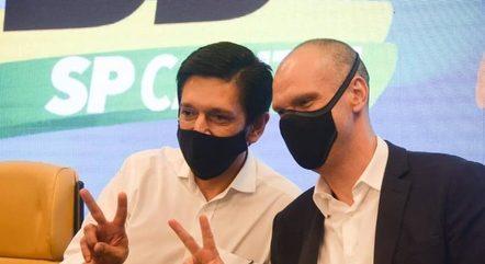 Ricardo Nunes e Bruno Covas durante a campanha