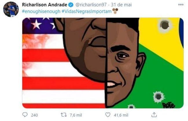 Richarlison não ficou calado em relação ao racismo sofrido dentro e fora do país. Com as hashtags #enoughisenough e #VidasNegrasImportam, ele postou uma montagem que liga os Estados Unidos e o Brasil com George Floyd e João Pedro, mortos pela polícia.