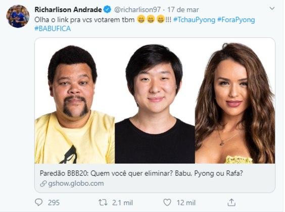 Richarlison, o Pombo, é um dos mais engajados no apoio a Babu nas redes sociais. O atacante do Everton convocou seus 224,4 mil seguidores no Twitter para votar a favor do 'paizão' no último paredão.