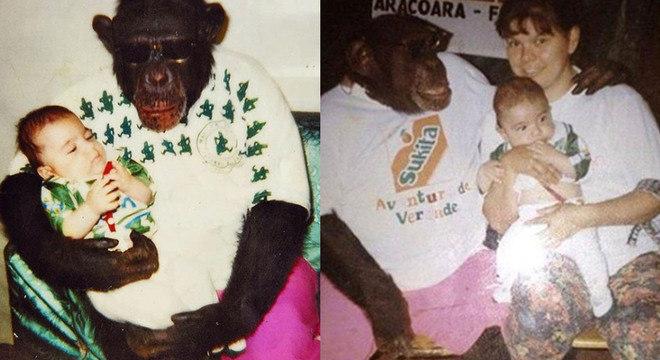 Encantada pelo chimpanzé Jango, mãe de Rick voltou ao circo com camiseta do Palmeiras