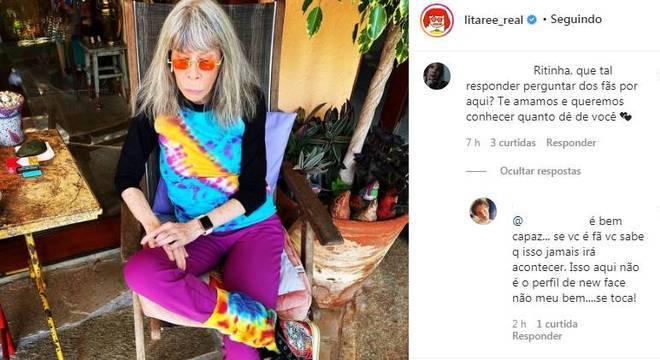 Rita Lee mostrou composição colorida em tie dye