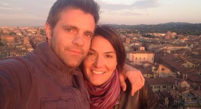 Numa foto raríssima com a namorada Eulalia Santato